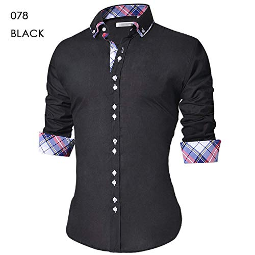 (Autumn shallow Fate Men's Casual Slim Fit Button Down Shirt Long Sleeve Formal Dress Shirts,078 Black,4XL)