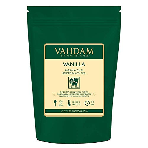 - VAHDAM, Vanilla Spiced Masala Chai | 3.53oz (50 Cups) | STRESS RELIEVING & REFRESHING | Masala Chai Tea | Delicious Blend Of Vanilla Tea | Spiced Chai Tea Loose Leaf | Brew As Hot, Cold or Iced Tea