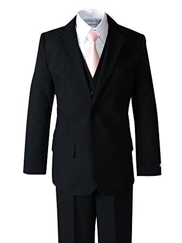 Spring Notion Big Boys' Modern Fit Dress Suit Set 8 Black w/ Blush Pink (Slim Fit Boys Suit)