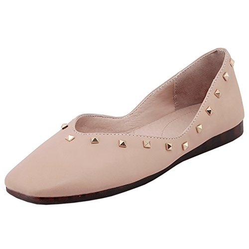 Taffen Womens Comfort Slip On Flat Shoes Albicocca-95