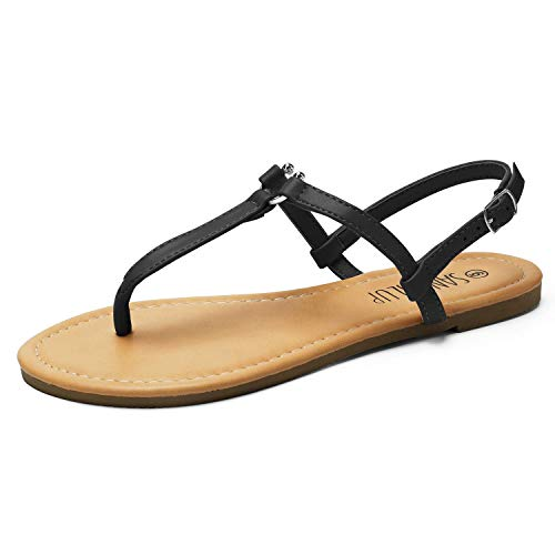 SANDALUP Thong Flat Sandals with U-Shaped Metal Buckle for Women Summer Black 06.5 ()