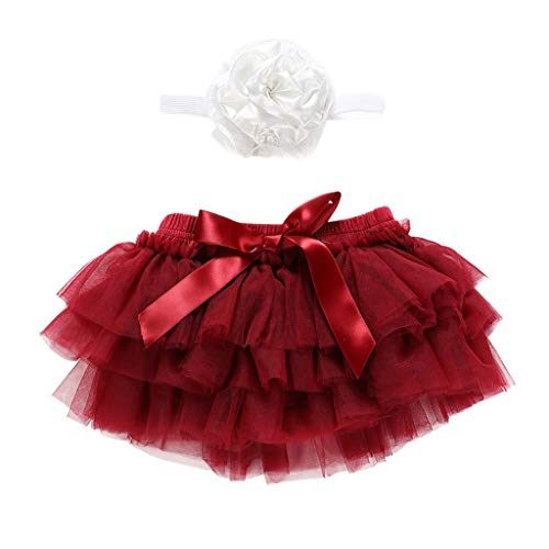 iLOOSKR Newborn Infant Baby Girl Bowknot Tulle Tutu Skirts+Headband Outfits Clothes Wine -