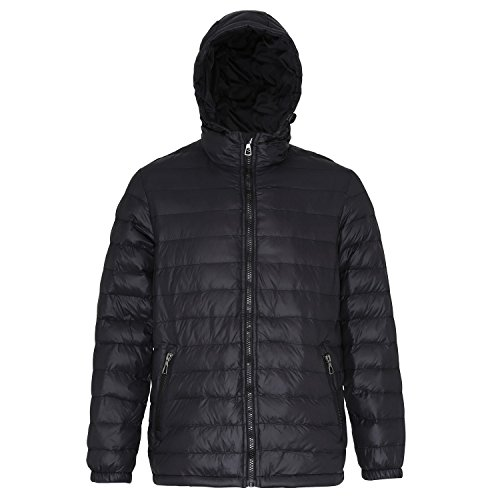 2786 Mens Hooded Water & Wind Resistant Padded Jacket Black/black
