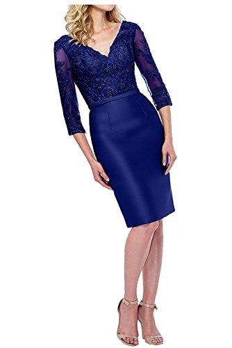 Ballkleider Etuikleider Langarm Abendkleider Kurz Damen mit Knielang Blau Royal Partykleider Charmant Brautmutterkleider Dunkel qwIpH0n