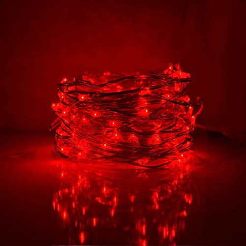 Red Led Christmas Lights With Red Wire in US - 5
