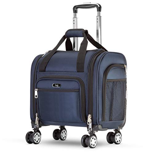 Brags Four Wheeled Spinner Underseat Carry On - Multiple Compartments(Navy)