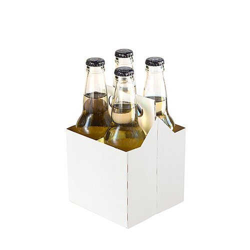 - 4 Pack Cardboard Beer Bottle Carrier For 12 Ounce Bottles (Pack of 50) (White)