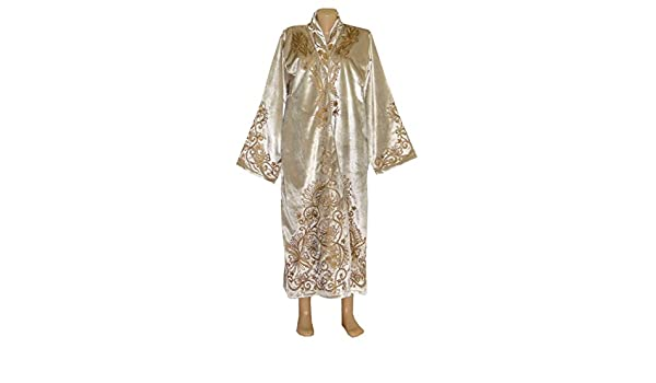 8b5c2417ef3 Amazon.com: UZBEK TRADITIONAL BUKHARA ROBE JACKET COAT UNISEX GOLD  EMBROIDERED A10428: Handmade
