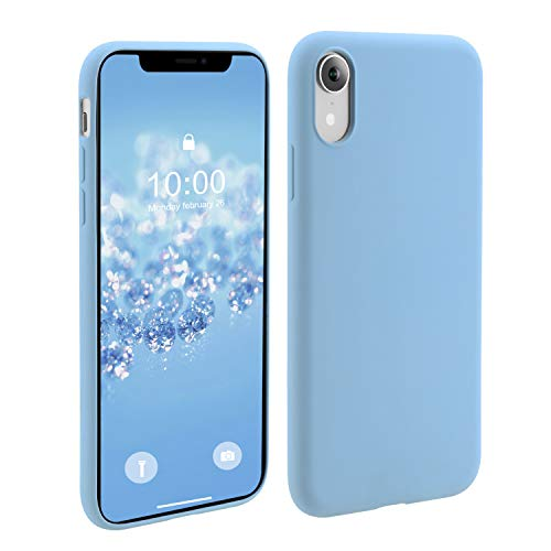 Phone Case for Apple iPhone XR,OneLeaf Slim Fit Anti-Slip Liquid Silicone Rubber and PC Hybrid Protective Phone Case Cover with Anti-Scratch Surface Finishing (Pastel Blue)