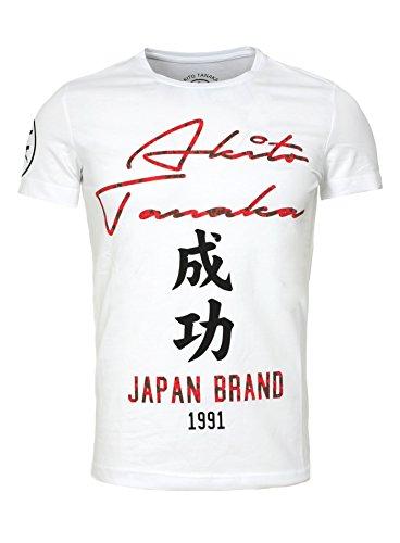Asiatische Homme Akito Blanc Brand Tanaka Printshirt shirt Japon Taiko Schriftzeichen T 5w68HUxwq