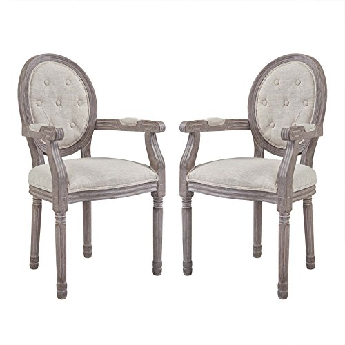 Modway EEI-3106-BEI-SET Arise Vintage French Upholstered Fabric Dining Armchair Set of 2, Fully Assembled, Beige