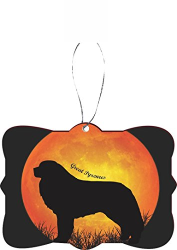 Rikki Knight RKWS-SQORN-41369 Great Pyrenees Dog Silhouette by Moon Christmas Tree Ornament -