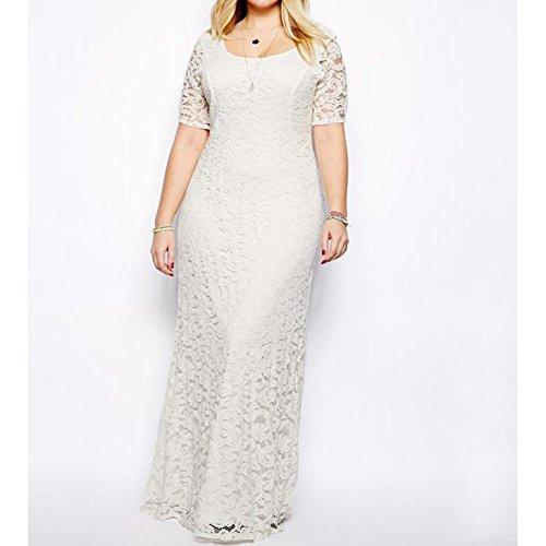 tamaño cuello de Vestido de las más tamaño Fiesta corta mujeres de Encaje redondo floral Highdas de las Blanco gran manga elegante de XRqw7IdI