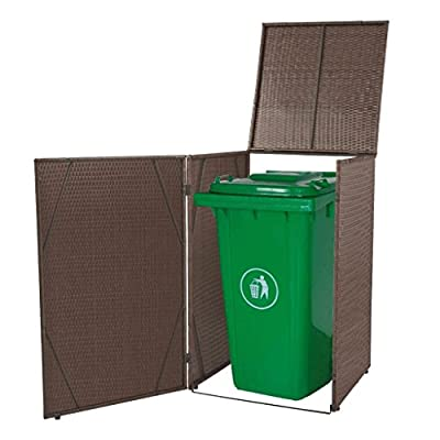 "Festnight Outdoor Single Waste Bin Shed Storage Shed Poly Rattan 29.9"" x 30.7"" x 48.4"""
