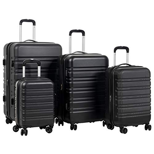 Murtisol 4 Pieces Expandable ABS Luggage Sets TSA Lightweight Durable Spinner Suitcase 16 20 24 28 , 4PCS Black