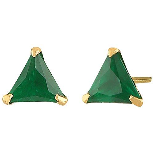 Efulgenz Jewelry 14K Gold Plated Hypoallergenic Green Tringle Cubic Zirconia 6 MM Stud Earrings Set for Pierced Ears - 14k Contemporary Earrings