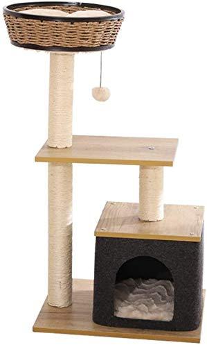 FTFDTMY Cat Theme Store Katzenhaus, kleine Rattan-Katze Klettergerüst Schlafzimmer Katzenspielzeug Kratzbaum (Größe: 39…