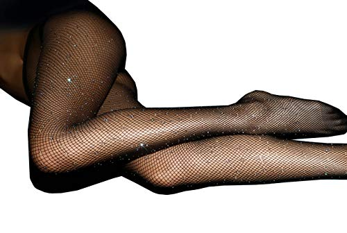 MISSGGBOND Women's Sparkle Rhinestone Fishnets Stockings High Waist Mesh Hollow Out Tights Pantyhose (One Size, Black)]()
