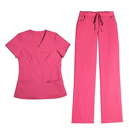 Grey's Anatomy Women's Mock Wrap Top 4153 & Drawstring Pant 4232 Scrub Set (Coral Crush - X-Small/XSmall Tall) by Barco