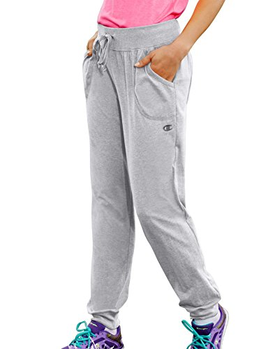 - Champion by Women's Jersey Elastic Ribbed Waistband Pocket Pants_Oxford Grey_XL