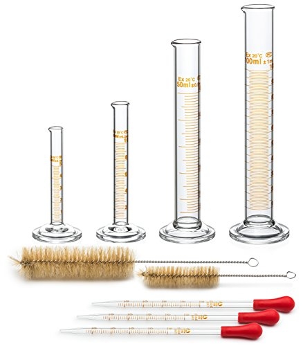 Graduated Cylinder Set - 4 Measuring Cylinder - 5ml, 10ml, 50ml, 100ml - Premium Borosilicate Glass - Contains 2 Cleaning Brushes + 3 x 1ml Glass Pipettes