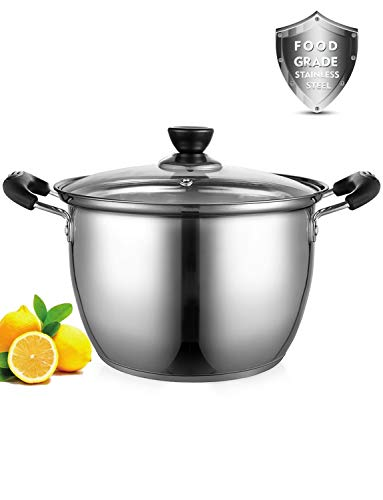 Stock Pot, ONEISALL 6 Quart Stockpot Thicker Stainless Steel Large Induction Pot with Lid, Anti-Scalding Safety Handle and Fast Heating for Induction Cooktop, Gas Stoves, Oven