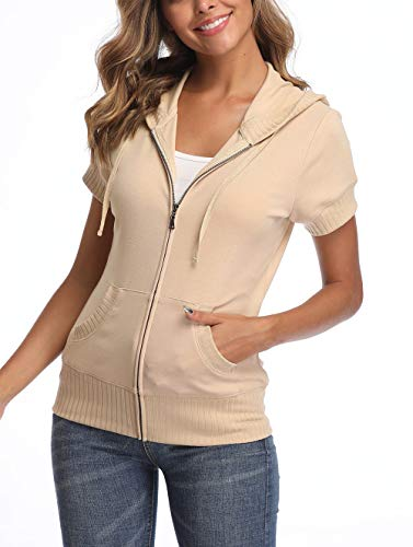 MISS MOLY Women's Hoodie Zip up Short Sleeve Jacket w 2 Patch Pocket Apricot ()