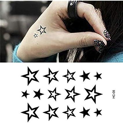 LFVGUIOP Blanco y Negro Estrellas Tatuaje Falso Impermeable Brazo ...