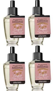 Bath and Body Works 4 Pack Aromatherapy Comfort Vanilla & Patchouli Wallflower Fragrance Refill 0.8 Oz