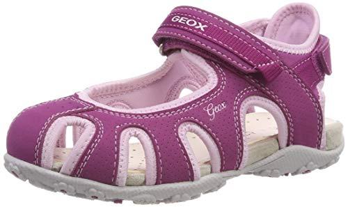 Geox Girls' Roxanne 42 Denim Studded HIGH TOP Sneaker with Zip Sport Sandal Pink, 27 Medium EU Little Kid (10 US)