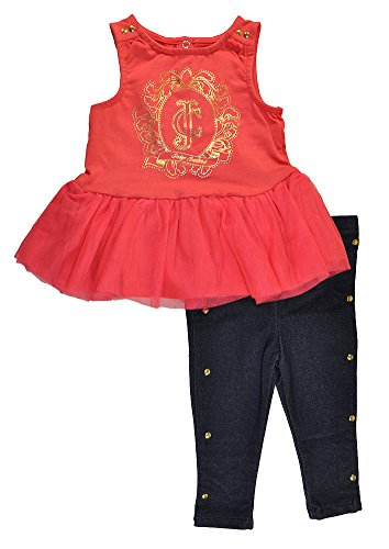 Juicy Couture Baby Girls' Jersey with Knit Mesh Accent Top and Leggings, Red Icing, 12 Months