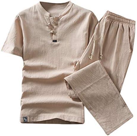 Jincheng665 tシャツ ルームウェア 無地 シャツ レトロ メンズ グレー vネック パンツ ブラウス ズボン 通気性 ウエストゴム 半袖 ゆったり 大きいサイズ お呼ばれ パジャマ セット