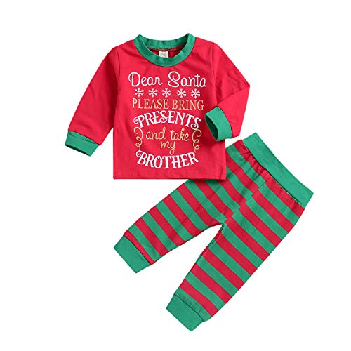 Toddler Baby Boy Girl Christmas Clothes Kids Long Sleeve T-Shirt Top + Striped Pants Outfits Homewear Pajamas Set (Kid Baby Santa Outfit, 4-5 T) -