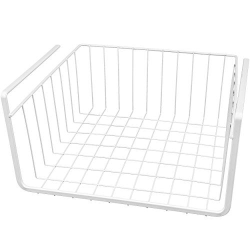 Southern Homewares White Wire Under Shelf Storage Organization Wrap Rack Basket, 11″, White