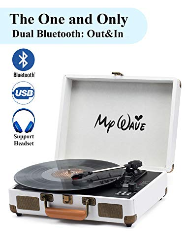 (MyWave Bluetooth Wireless Turntable Portable Record Player with Built-in Stereo Speakers, 3-Speed,Vinyl-to-MP3 Recording,Both Bluetooth Transmit Out & Receive in,AUX in,RCA Out,Headphone (White-2))