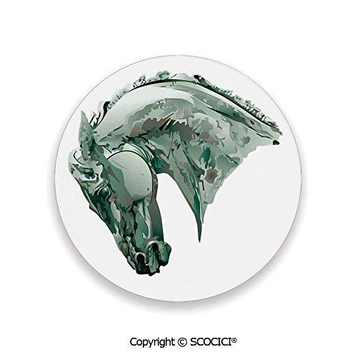 Ceramic Coaster With Cork Mat on the back side, Tabletop Protection for Any Table Type, round coaster,Sculptures Decor,Green Stain Horse with Mane Image,3.9