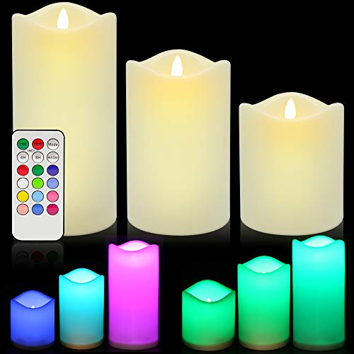 LED Flameless Candles, ANKO Multi Color Changing Battery Operated Ivory Wax Melted Edges Candles with Timer and Remote Control(Set of -