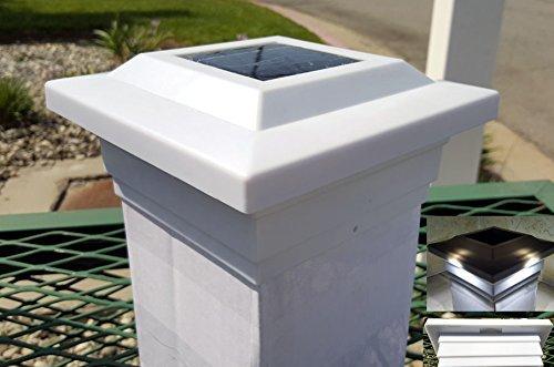 Solar Post Cap Low Profile 4 SMD LED White 5X5 Vinyl & Wood ( 2 Pack )PL252