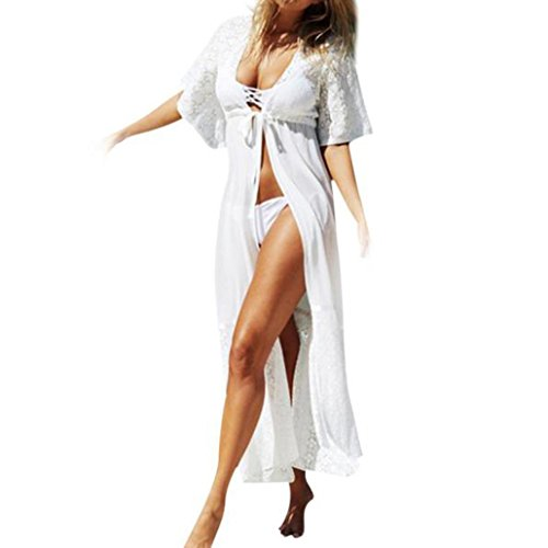 FANOUD Smock,Women Fashion Lace Long Coat Suit Bikini Swimwear Beach Swimsuit Smock (XL, White)