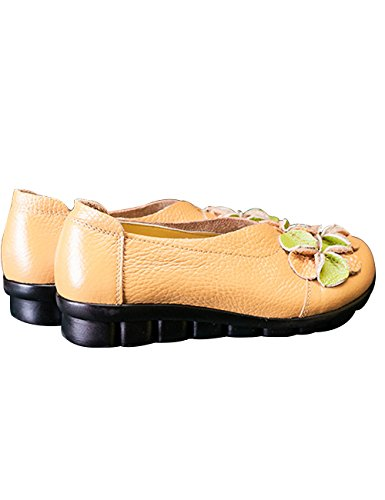 Zoulee Womens Round Toe Leather Floral Flats Shoes Mother Shoes Yellow FNrntV6P