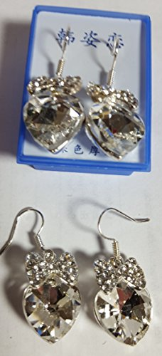 Earrings, silver-plate and rhinestones, lot of 6 pairs, french wires (Rhinestone Silverplate)