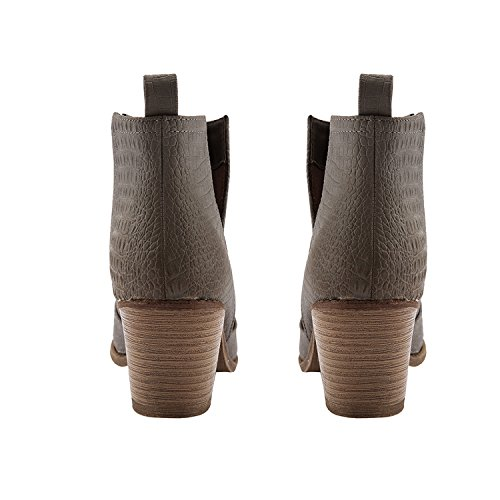 Grey Fisace Western Ankle Womens 01 Toe Round Heel Zipper Closed Inside Low Booties Stacked qw4g7q