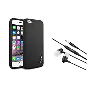 Insten Black Silicone Skin Case with FREE In-ear (w/on-off) Stereo Headsets Compatible with Apple iPhone 6 4.7''