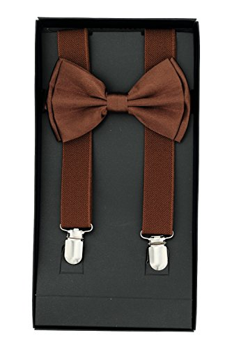 Buha Suspenders for Men, 2 in 1 Suspenders and Bow Tie, Mens Outfits Casual Suspender and Bow Tie Special Edition (Dark Brown)