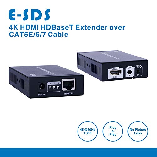 E-SDS 4K HDMI Extender, HDMI over Single CAT5E/6/7 Cable up to 230ft  (1080P) 130ft(4K) Supports 4K 60Hz, 3D, 1080P, HDCP2 2/1 4,Bi-directional  IR