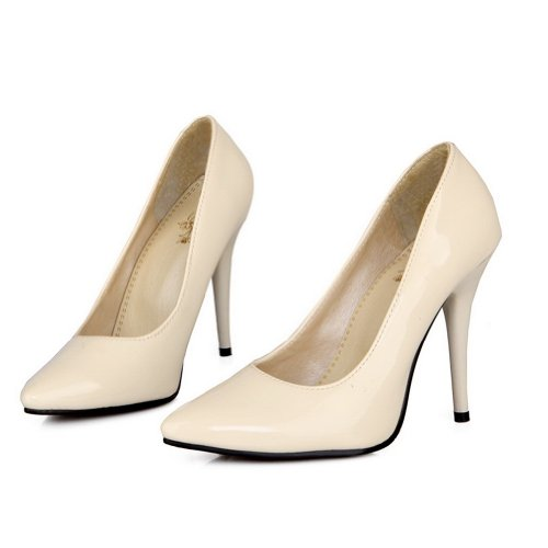 Closed Toes Leather Stiletto Solid Ladies Pumps VogueZone009 Pointed Patent Beige qtFU60nw
