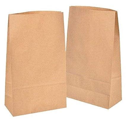 50 Kraft marrón bolsas de papel con base 18 x 30 x 8 cm, 70