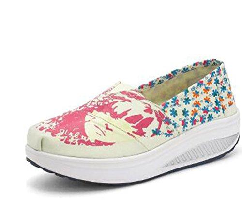 VECJUNIA Ladies Breathable Platform Shoes Casual Shoes Trainers Canvas Shoes Beige