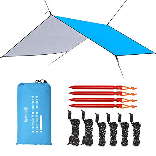 (Esup 10 x 10 ft Hammock Rain Fly Waterproof Tent Tarp, 210T Ripstop Nylon Material, Camping, Hiking Essential Gear, (Sky Blue))