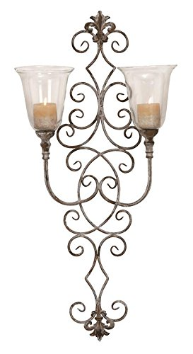 Deco 79 68796 Metal & Glass Candle Sconce